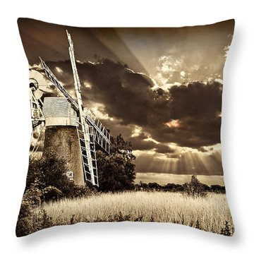Throw Pillow featuring the photograph Sepia Sky Windmill by Meirion Matthias