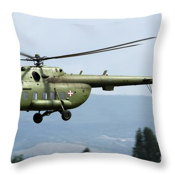 Serbian Air Force Mi-17 Helicopter Throw Pillow