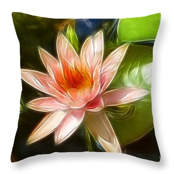 Serene Pink Waterlily  Throw Pillow by Darleen Stry
