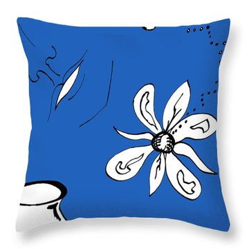 Serenity In Indigo Throw Pillow by Mary Mikawoz