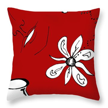 Serenity In Red Throw Pillow by Mary Mikawoz