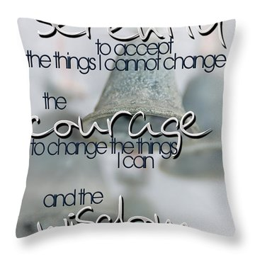 Serenity Prayer With Bells Throw Pillow by Vicki Ferrari