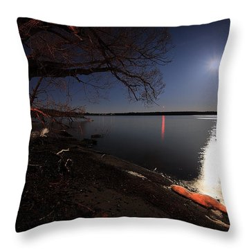 Setting Moon Throw Pillow by Everet Regal