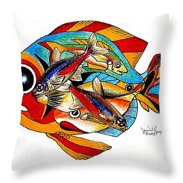 Seven Fish Throw Pillow