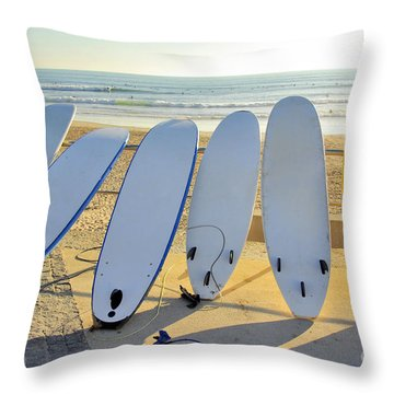 Seven Surfboards Throw Pillow by Carlos Caetano