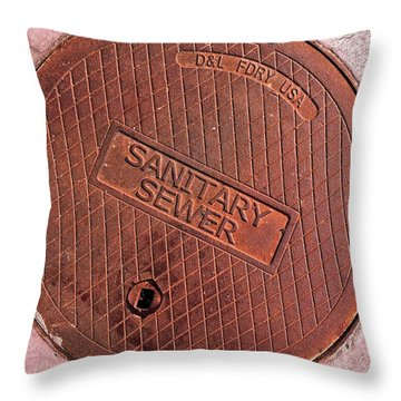 Throw Pillow featuring the photograph Sewer Cover by Bill Owen