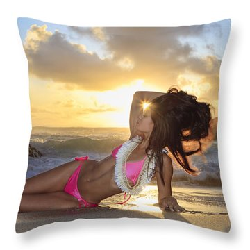 Sexy Woman At Eternity Beach Throw Pillow by Tomas del Amo - Printscapes