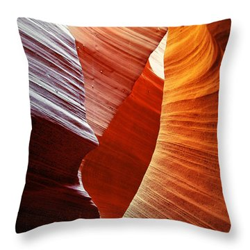 Shades Of Red - Antelope Canyon Az Throw Pillow by Christine Till
