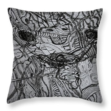 Throw Pillow featuring the drawing Shango by Gloria Ssali