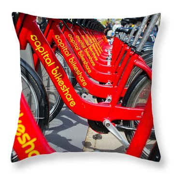 Shared Bikes Throw Pillow by Dan Wells