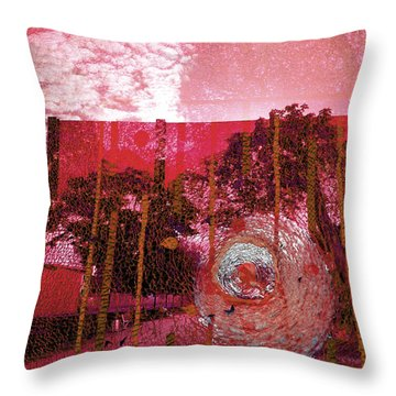 Throw Pillow featuring the photograph Abstract Shattered Glass Red by Andy Prendy