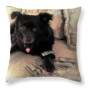 She Is In The Money Throw Pillow by Nina Prommer