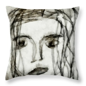 She Sat Alone 2 Throw Pillow by Angelina Vick
