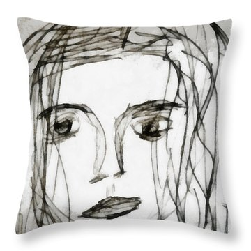 She Sat Alone Throw Pillow by Angelina Vick