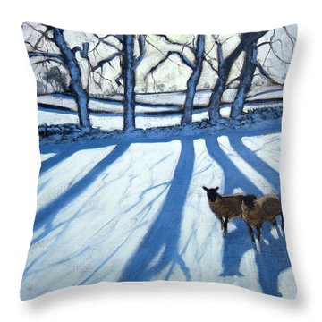 Sheep In Snow Throw Pillow by Andrew Macara