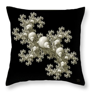 Throw Pillow featuring the digital art Shell Dragon Fractal Form by Manny Lorenzo