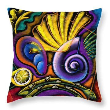 Shellfish Throw Pillow by Leon Zernitsky