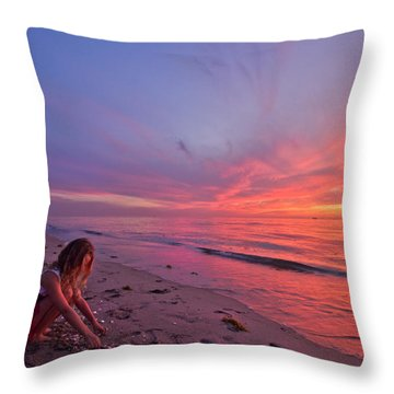 Shelling Throw Pillow by Debra and Dave Vanderlaan