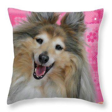 Sheltie Smile Throw Pillow by Christine Till