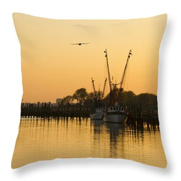 Shem Creek Throw Pillow by Carrie Cranwill