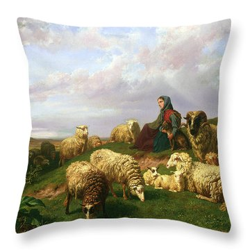 Shepherdess Resting With Her Flock Throw Pillow by Edmond Jean-Baptiste Tschaggeny