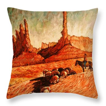 Throw Pillow featuring the painting Sheppard by Charles Munn