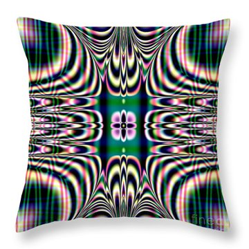 Shimmering Plaid Fractal 66 Throw Pillow by Rose Santuci-Sofranko