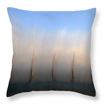 Ship At Harbour  Throw Pillow by Catherine Lau