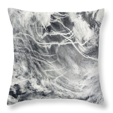 Ship Tracks In The Pacific Ocean Throw Pillow by Stocktrek Images