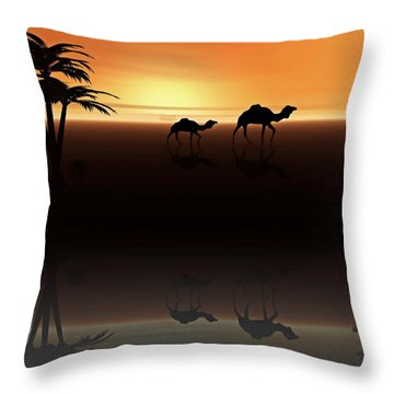 Ships Of The Desert Throw Pillow