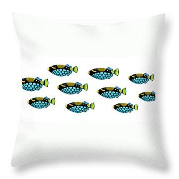 Shoal Of Clown Triggerfish  Throw Pillow by Opas Chotiphantawanon