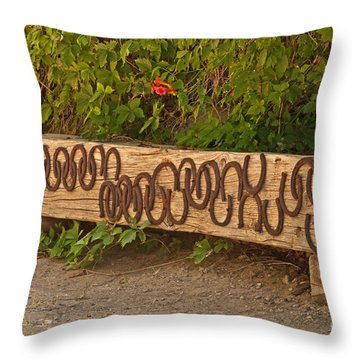 Shoes On The Bench Throw Pillow by Bob and Nancy Kendrick