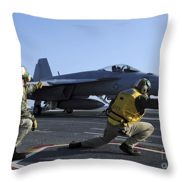 Shooters Aboard The Uss George H.w Throw Pillow