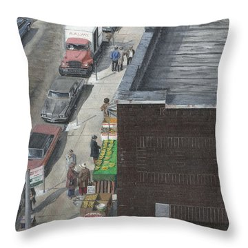 Throw Pillow featuring the painting shopping bklyn ny 1970S by Stuart B Yaeger