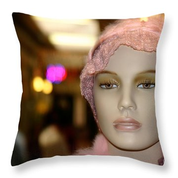 Shopping Girl Throw Pillow by Henrik Lehnerer