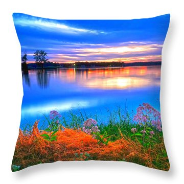 Throw Pillow featuring the photograph Shoreline Sundown by Randall Branham