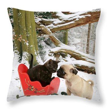 Shorthair Kitten And Pug Throw Pillow by Jane Burton