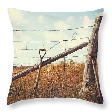 Shovels Leaning Against The Fence Throw Pillow