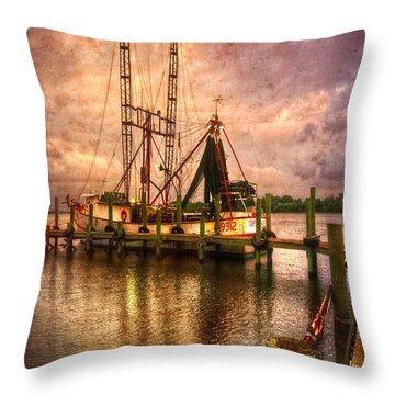 Shrimp Boat At Sunset II Throw Pillow by Debra and Dave Vanderlaan