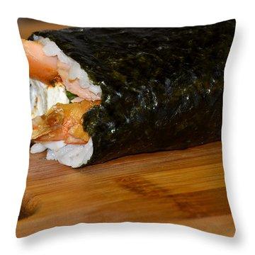 Shrimp Sushi Roll On Cutting Board Throw Pillow by Carolyn Marshall