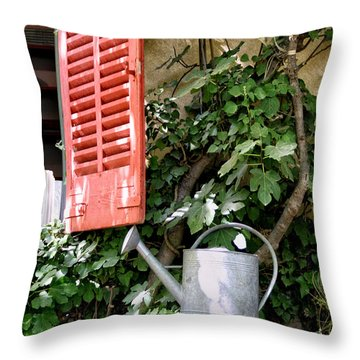 Shutters And Watering Can Throw Pillow
