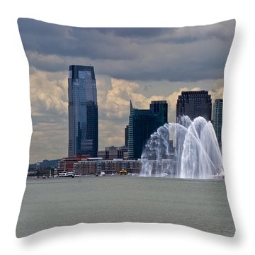 Shuttle Enterprise And Fire Boat Throw Pillow by Gary Eason