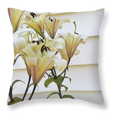 Side Yard Lilies Throw Pillow by Pamela Patch