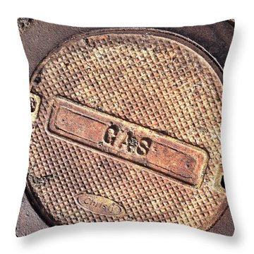 Throw Pillow featuring the photograph Sidewalk Gas Cover by Bill Owen