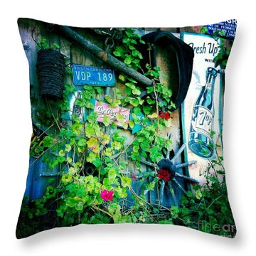 Throw Pillow featuring the photograph Sign Wall by Nina Prommer