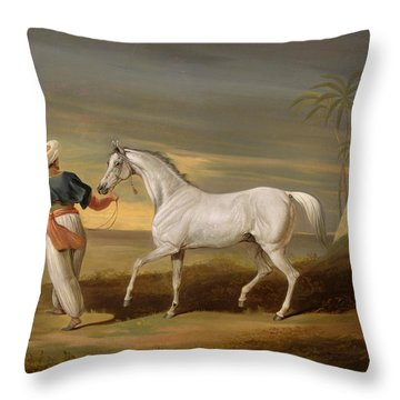 Signal - A Grey Arab With A Groom In The Desert Throw Pillow