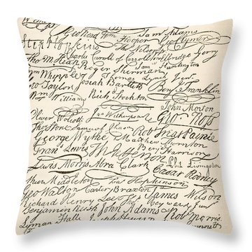 Signatures Attached To The American Declaration Of Independence Of 1776 Throw Pillow by Founding Fathers
