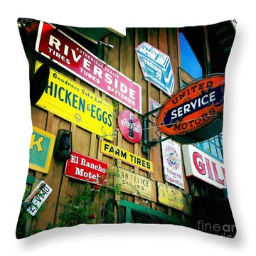 Throw Pillow featuring the photograph Signs Of A Great Place by Nina Prommer