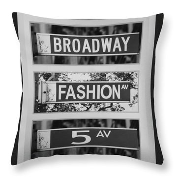 Signs Of New York In Black And White Throw Pillow by Rob Hans