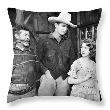 Silent Film: Cowboys Throw Pillow by Granger